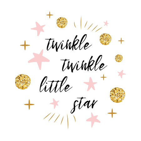Illustration pour Twinkle twinkle little star text with gold polka dot and pink star for girl baby shower card template - image libre de droit