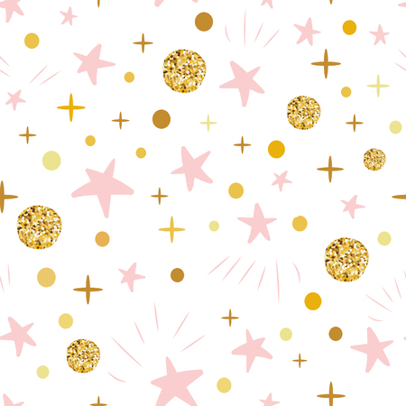 Ilustración de Hand drawn seamless pattern decoreted gold balls pink stars for Christmas backgound or baby shower - Imagen libre de derechos