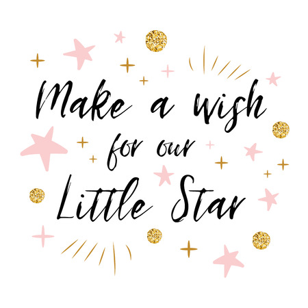 Illustration pour Make a wish for our Little Star text with gold polka dot and pink star for girl baby shower card template - image libre de droit