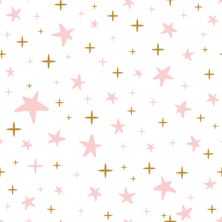Illustration pour Hand drawn seamless pattern decorated gold pink stars for Christmas background or baby shower wallpaper. - image libre de droit