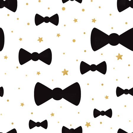 Illustration pour Vector cute hipster bow tie seamless pattern background with golden polka dot ornament. Great for baby shower design, wallpaper, wrap, cover, web template. Gentleman package design - image libre de droit
