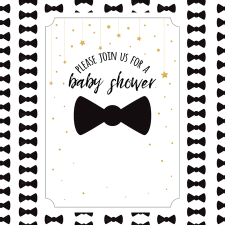 Illustration pour Baby Shower Invitation Template with sparkle golden stars, bow tie on white background. Gentle banner for boy birthday party, congratulation, invitation. Vector illustration sign label print - image libre de droit