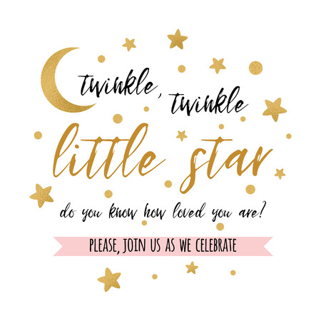Ilustración de Twinkle twinkle little star text with gold star and moon for girl boy baby shower card invitation. - Imagen libre de derechos