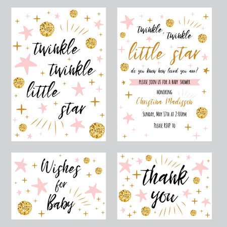 Illustration pour Twinkle twinkle little star text with cute gold, pink colors for girl baby shower card template Vector illustration set Banner for children birthday design, invitation, thank woy card, wishes for baby - image libre de droit