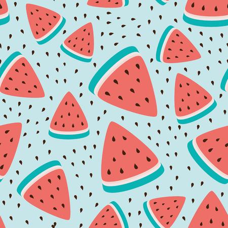 Ilustración de Wallpaper seamless pattern of watermelon slices, summer fresh fruit design. - Imagen libre de derechos