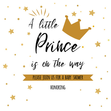 Illustrazione per Text a little prince is on the way with gold stars, golden crown. Boy birthday invitation baby shower template. - Immagini Royalty Free