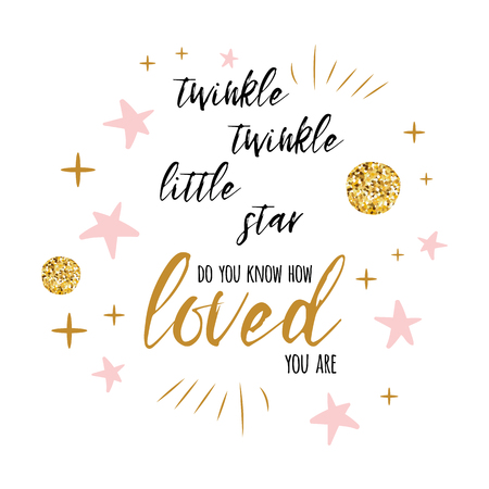 Ilustración de Twinkle twinkle little star text with gold ornament and pink star for girl baby shower card template - Imagen libre de derechos