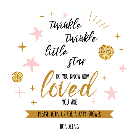 Illustration pour Twinkle twinkle little star text with cute gold, pink colors for girl baby shower card template Vector illustration. - image libre de droit