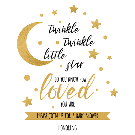 Ilustración de Twinkle twinkle little star text with cute gold star and moon for girl baby shower card template Vector illustration. - Imagen libre de derechos