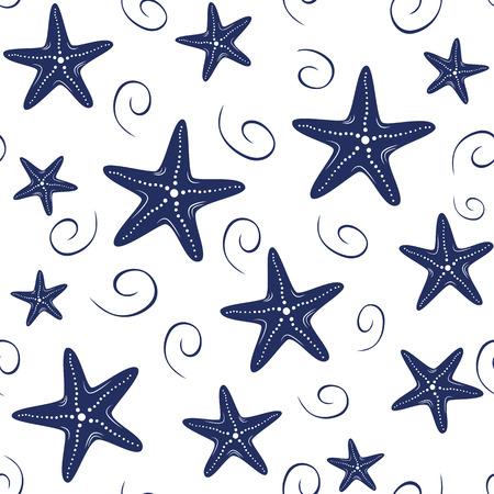 Ilustración de Seamless vector sea pattern with hand drawn sea stars, wave, drops in navy colors on white background - Imagen libre de derechos