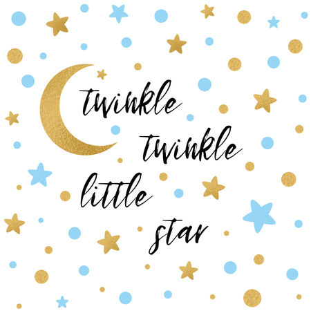 Illustration pour Twinkle twinkle little star text with gold and blue star and moon - image libre de droit