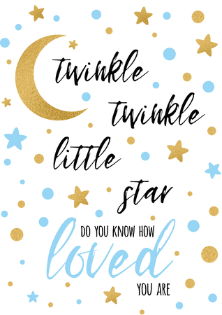 Ilustración de Twinkle twinkle little star text with golden ornament and blue star - Imagen libre de derechos