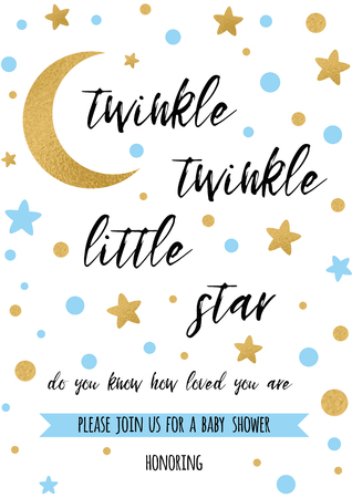 Illustration pour Twinkle twinkle little star text with golden ornament and blue star - image libre de droit