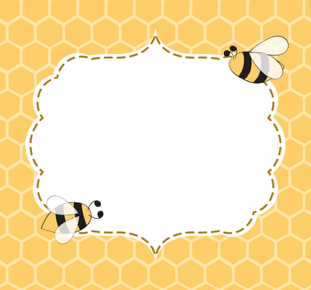 Ilustración de Vector Illustration of a Natural Background with Honeycombs, Bees, hand drawn frame made in yellow colors in cute vintage style with place for text - Imagen libre de derechos