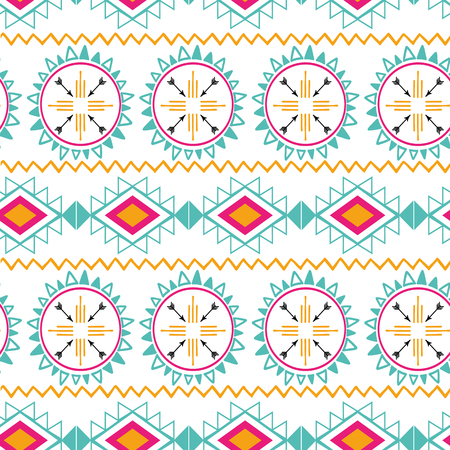 Illustration pour Seamless tribal ethnic pattern Aztec abstract background Mexican horizontal ornamental texture in bright pink orange - image libre de droit