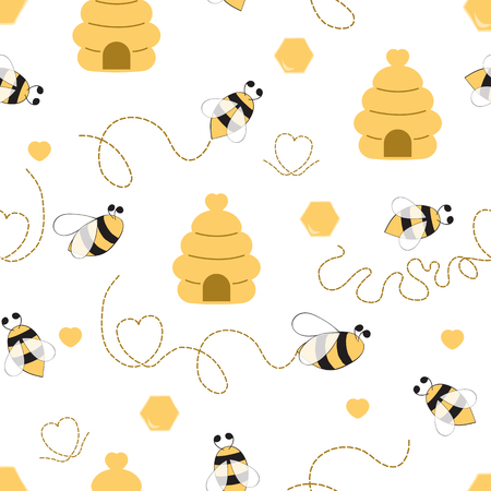 Illustration pour Seamless pattern with bee honey heart made in yellow colors Cute background in kids cartoon style Vector illustration. Fabric textile design for baby or girl cloth Wallpaper wrap cover wraping package - image libre de droit