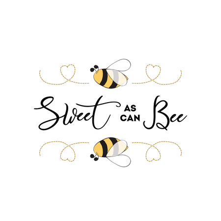 Illustration pour Sweet as can Bee banner bee on white background Baby Shower Kids birthday banner design - image libre de droit