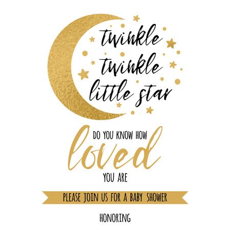 Illustration pour Twinkle twinkle little star text loved with gold star and moon for girl boy baby shower invitation template - image libre de droit