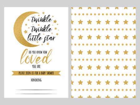 Illustration pour Baby shower invitation template Twinkle little Star with sparkle gold stars background. Gentle banner for children birthday party, congratulation, invitation. Vector illustration logo, sign label set - image libre de droit