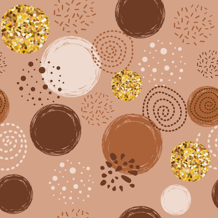 Illustration for Abstract seamless vector brown coffee pattern with hand drawn round elements. Sketched caramel golden vintage design Background for greetings invitations wrapping paper textile web design on the white - Royalty Free Image
