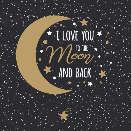 Illustration pour I love you to the moon and back. St Valentines day inspirational quote gold moon sky full of stars - image libre de droit