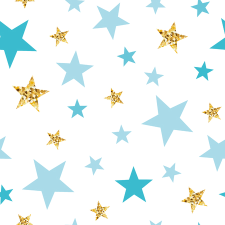 Ilustración de Doodle star seamless pattern background Blue and gold star. Abstract gold glitter stars seamless texture card poster album book fabric t shirt wrapping paper Gold glitter texture Vector illustration. - Imagen libre de derechos