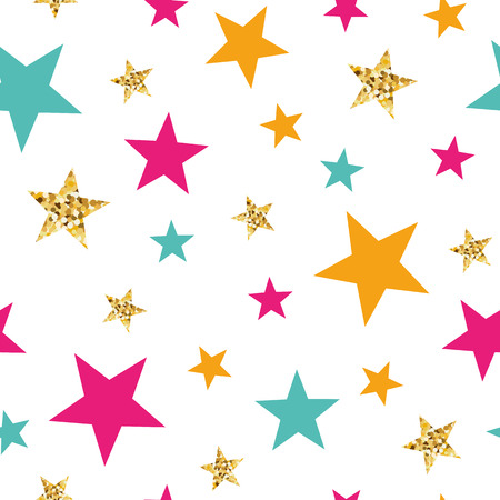 Ilustración de Gold glitter stars seamless pattern Abstract ornament in orange pink blue colors made from bright stars Vector illustration for wallpaper, wrap Golden elements, sparkles, shining white background - Imagen libre de derechos