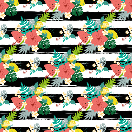 Illustration for Summer hibiscus seamless patterns on striped black lines tropical flowers exotic fruits background - Royalty Free Image