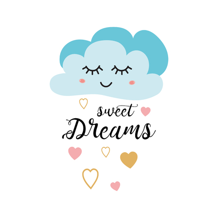 Ilustración de Poster for baby room with text Sweet dreams decorated cute hand drawn light blue cartoon cloud pink gold heart. Positive phrase for baby shower design cards banner cloth Childish vector illustration. - Imagen libre de derechos
