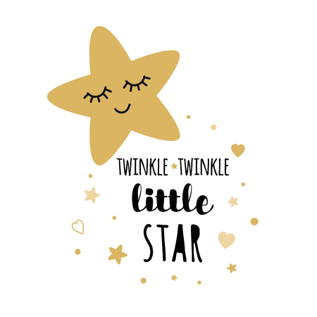 Illustration pour Twinkle twinkle little star text with cute golden stars for girl baby shower card template. Vector illustration. Banner for children birthday design, logo, label, sign, print. Inspirational quote - image libre de droit