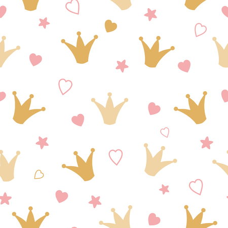 Illustration for Repeated crowns and hearts drawn by hand gold pattern Romantic girl vector seamless background - Royalty Free Image