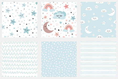 Illustration pour Stars smiling clouds moon kids repeate background Set of background patterns in pale blue Striped design Baby Shower, Birthday scrapbook greeting cards gift wrap surface textures Vector illustratiion. - image libre de droit