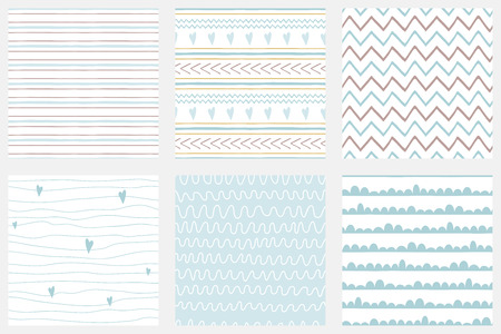 Illustration for Baby boy shower blue collection Hand drawn seamless pattern set Blue simple textures background fabric cloth Stripes lines zig zag stroke irregular graphic childish design Cute vector illustration. - Royalty Free Image