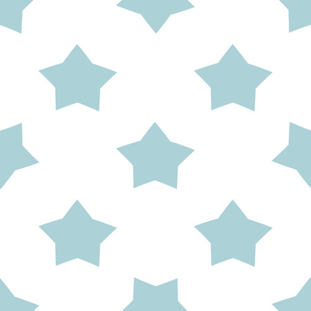 Illustration for Blue seamless star pattern for kids holidays. Pastel colors baby shower background. Cute child drawing style star illustration isolated on white Vector design for print fabric cloth Repeated template. - Royalty Free Image