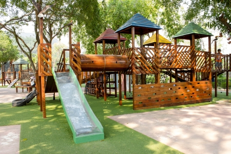 Foto de children Stairs Slides exercise equipment in garden - Imagen libre de derechos
