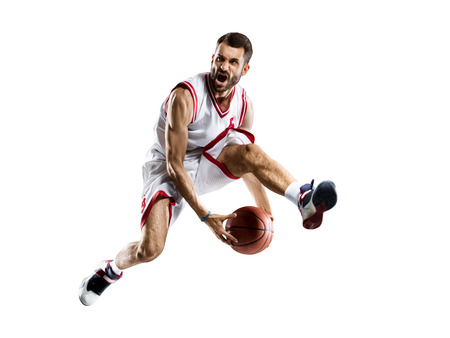Photo for Basketball player isolated on white - Royalty Free Image