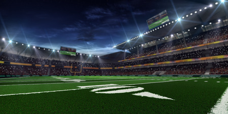 Photo pour Grand american football stadium befor mach at the night - image libre de droit