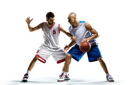 Foto für Isolated on white  two basketball players in action - Lizenzfreies Bild