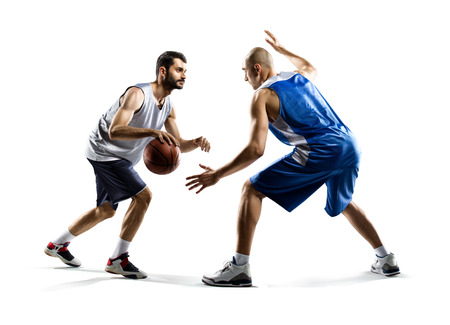 Photo pour Isolated on white  two basketball players in action - image libre de droit
