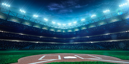 Photo for Professional baseball grand arena in the night - Royalty Free Image