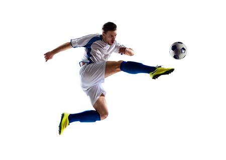 Photo pour football soccer player in action  isolated white background - image libre de droit