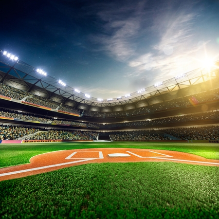 Foto de Professional baseball grand arena in the sunlight - Imagen libre de derechos