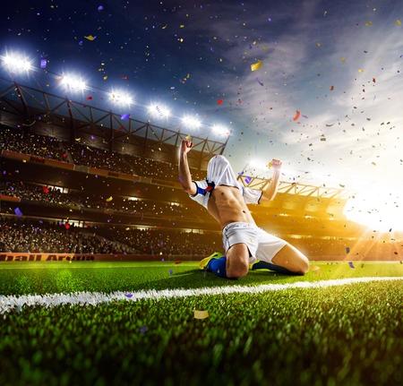 Photo pour Soccer player in action on sunny stadium background - image libre de droit