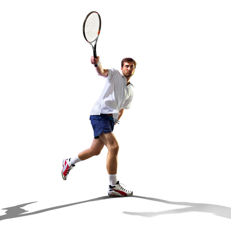 isolated on the white young man is playing tennis