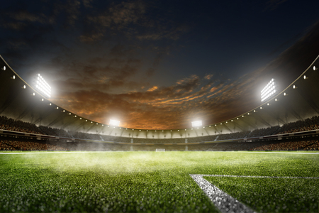 Foto de Empty night grand soccer arena in the lights - Imagen libre de derechos