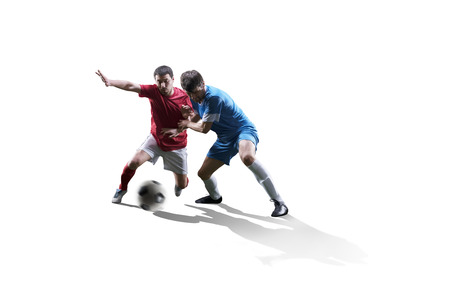 Photo for football soccer players in action isolated on white background - Royalty Free Image