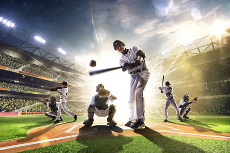 Photo pour Collage from professional baseball players on grand arena - image libre de droit