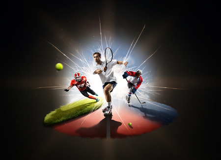 Photo for Multi sports collage tennis hockey american footbal - Royalty Free Image