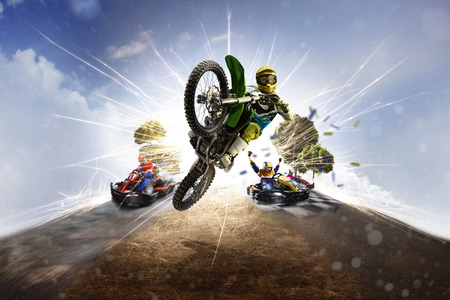 Photo for Multi sports motorsport collage from dirt bike karting - Royalty Free Image