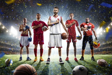 Photo for Boxing soccer football basketball volleyball players on grand arena - Royalty Free Image
